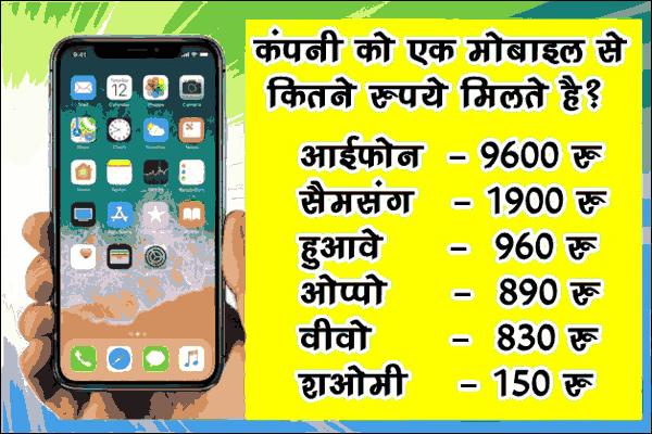 मोबाइल कंपनी अपने एक मोबाइल से कितना कमाती है